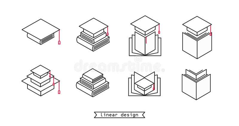 Ajuste dos ícones lineares para a escola ou a faculdade ou a graduação ou o estudo da universidade ilustração do vetor