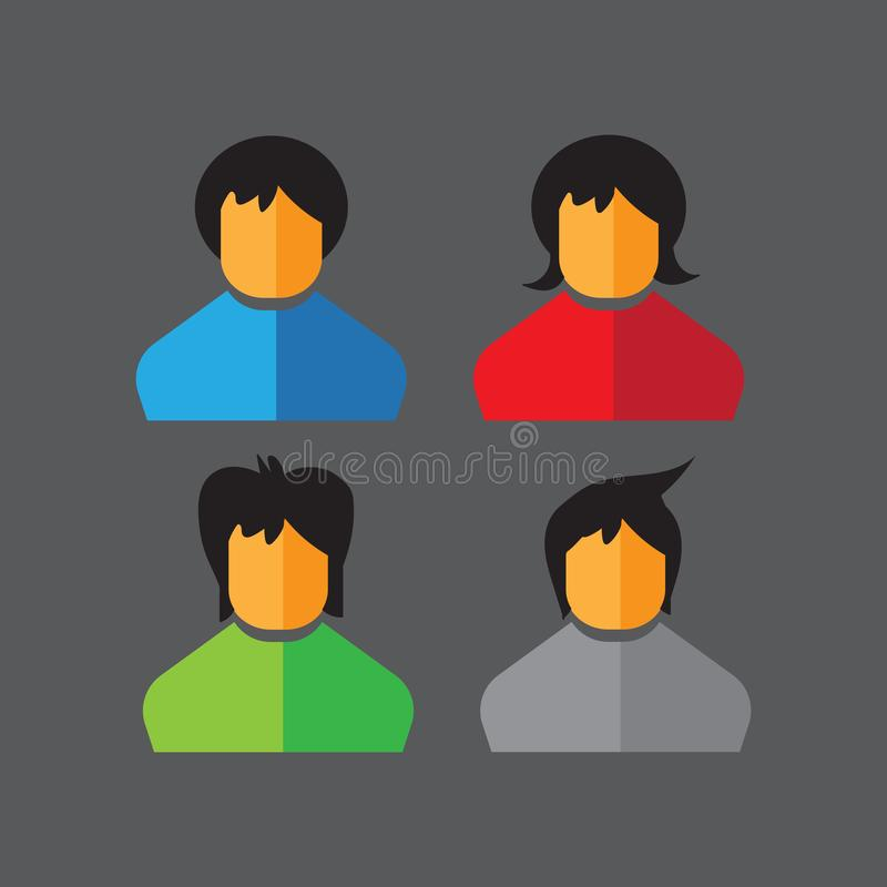 16052019 - ajuste dos ícones lisos do vetor ?cones dos povos avatars ilustração do vetor