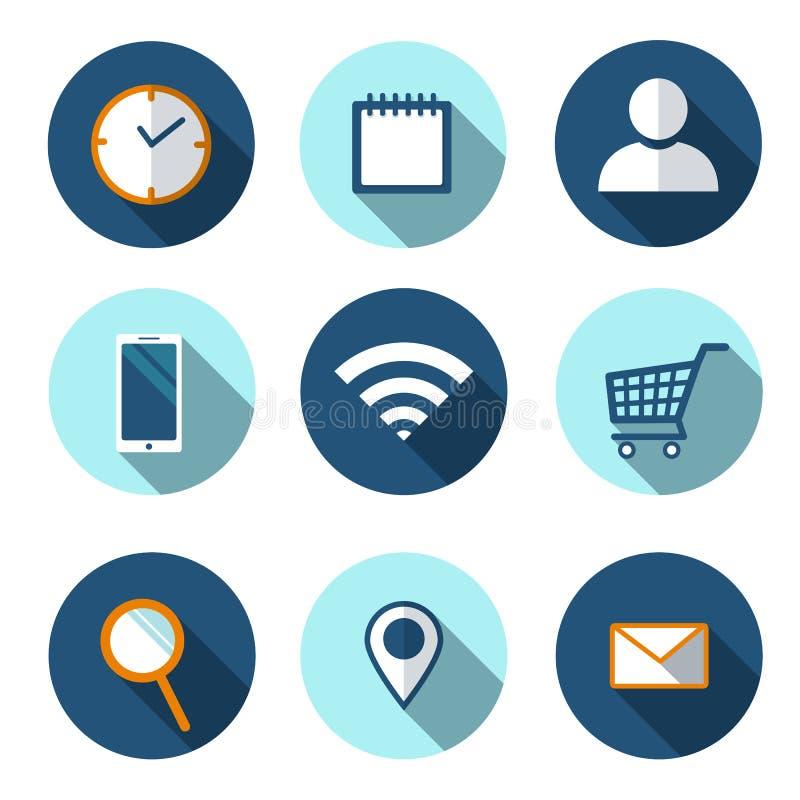 Ajuste dos ícones lisos para a Web, vetor Ícone liso de Wi-Fi Ícone liso do cesto de compras Ícone liso de Smartphone Lugar, puls ilustração royalty free