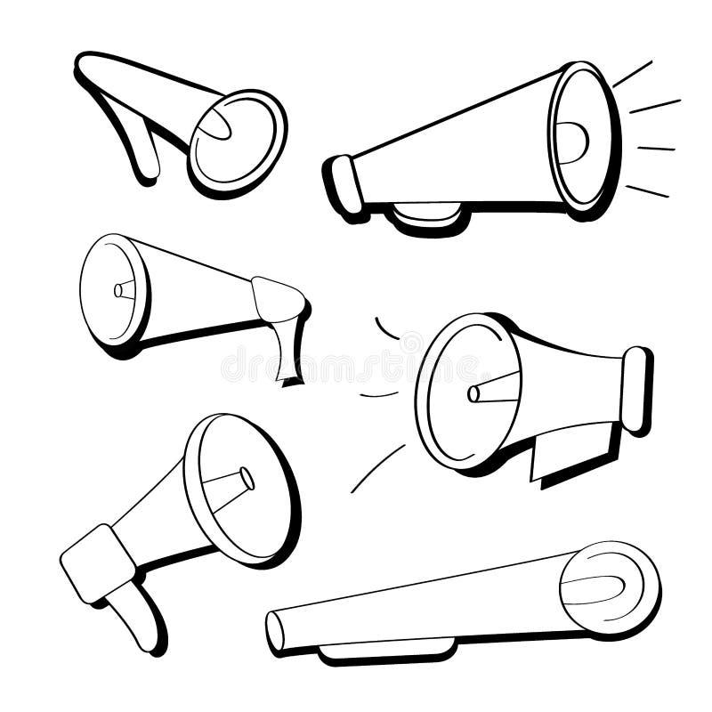 Ajuste dos ícones lisos preto e branco dos adaptadores bucais, altifalante no estilo dos desenhos animados Megafones isolados no  ilustração royalty free