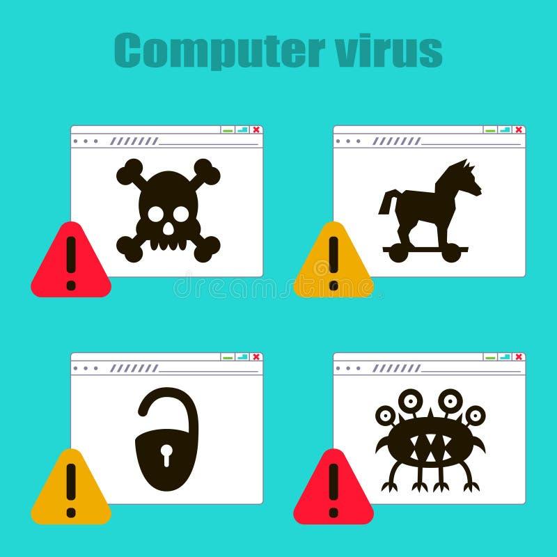 Ajuste dos ícones no tema de vírus de computador, cavalo de troia, castelo, vírus, crânio na página de Internet Vetor ilustração stock