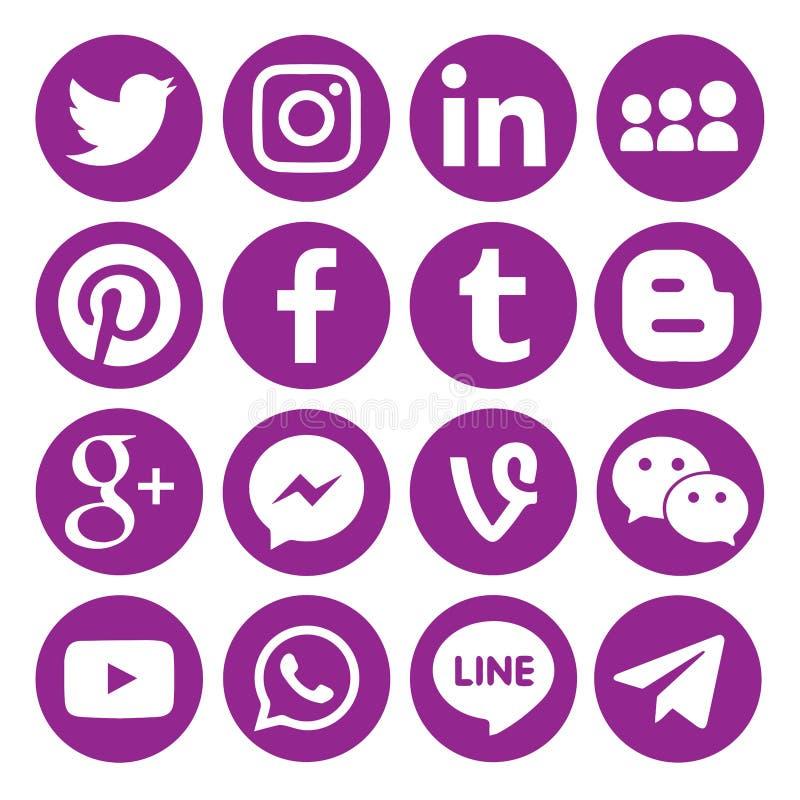 Ajuste dos ícones ou dos símbolos sociais circulares pretos populares dos meios impressos no papel: , Twitter, Blogger, Facebook, ilustração stock