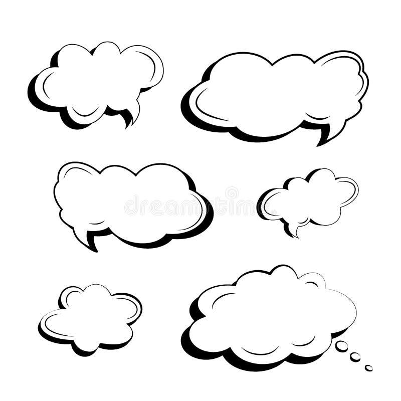Ajuste dos ícones preto e branco das nuvens e das explosões para o texto e os slogan feitos ao estilo da banda desenhada Vetor cô ilustração do vetor