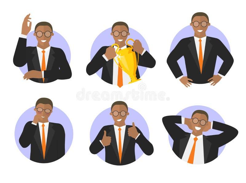 Ajuste dos ícones pretos da expressão do sucesso do homem de negócios ilustração stock