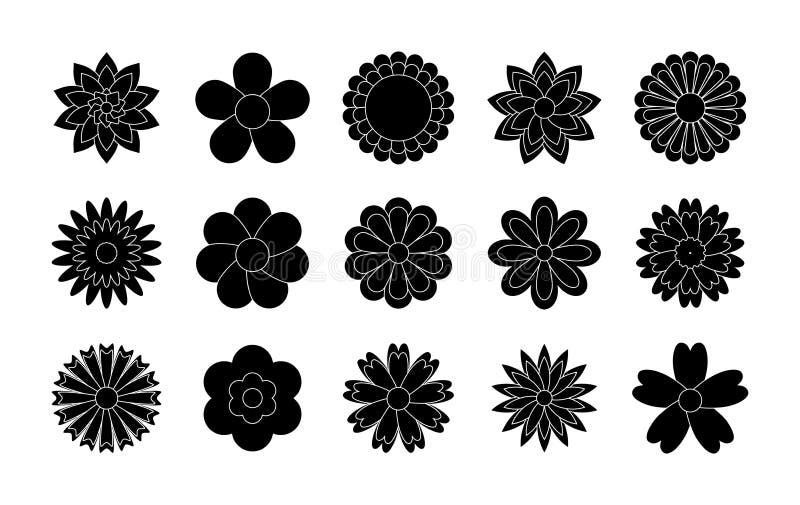 Ajuste dos ícones pretos das flores Vetor ajustado: 2014 cavalos ? moda Etiquetas e etiquetas Dia de m?es, o dia das mulheres ilustração stock