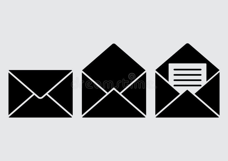 Ajuste dos ícones pretos do envelope Correio fechado, aberto, lido Vetor ilustração royalty free