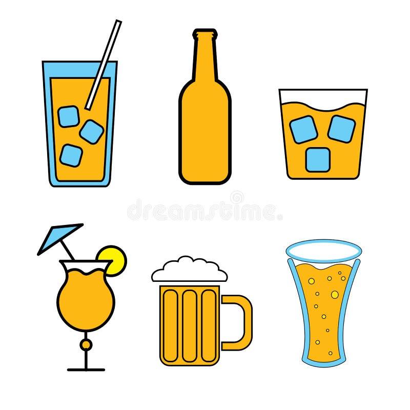 Ajuste dos ícones simples da cor de bebidas alcoólicas para a barra, café: cocktail, vidros, cerveja, garrafas, uísque em um fund ilustração do vetor