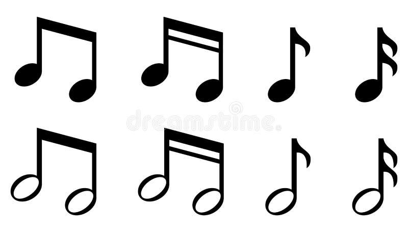 Ajuste dos ícones simples das notas da música ilustração do vetor