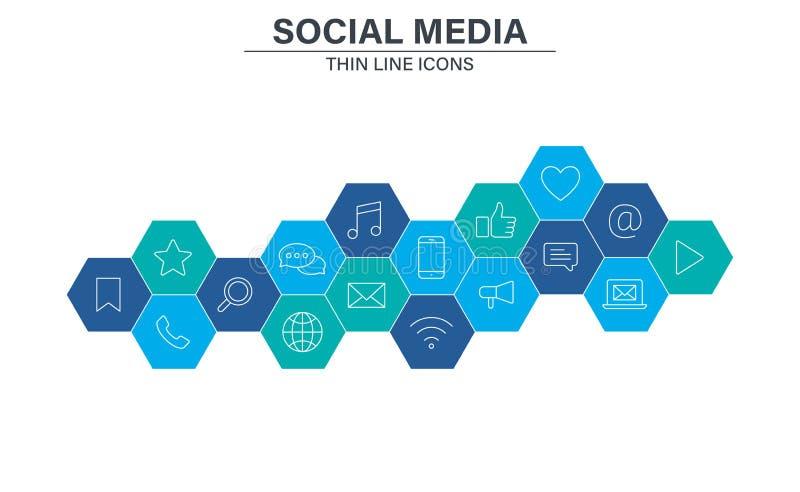 Ajuste dos ícones sociais da Web dos meios na linha estilo Contato, redes digitais, sociais, tecnologia, Web site Ilustra??o do v ilustração do vetor