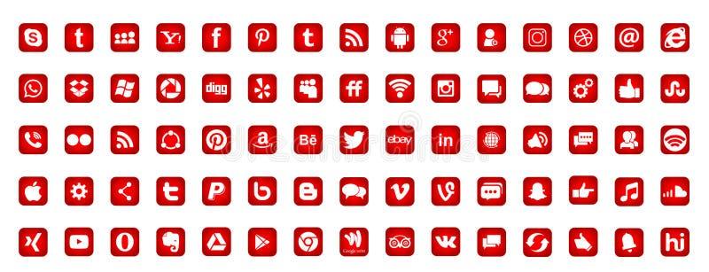 Ajuste dos ícones sociais populares Instagram Facebook Twitter Youtube WhatsApp LinkedIn Pinterest Blogd dos logotipos dos meios  ilustração do vetor