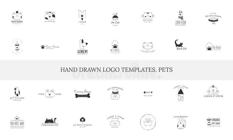 Ajuste dos ícones tirados mão do vetor, animais domésticos Moldes do logotipo para negócio relacionado dos animais de estimação ilustração stock