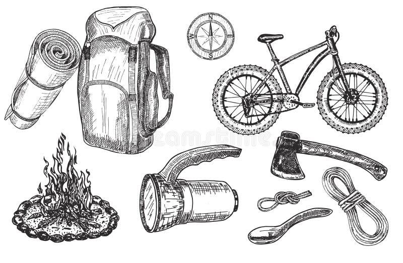 Ajuste dos acessórios e do equipamento do turista para a aventura e o acampamento exteriores ilustração do vetor