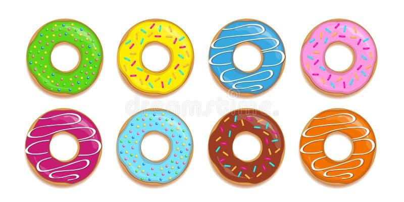 Ajuste dos anéis de espuma coloridos com açúcar diferente polvilha ilustração royalty free