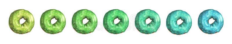 Ajuste dos anéis de espuma coloridos vitrificado Ilustra??o da aguarela ilustração do vetor