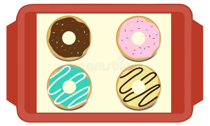 Ajuste dos anéis de espuma vitrificados doces ilustração stock