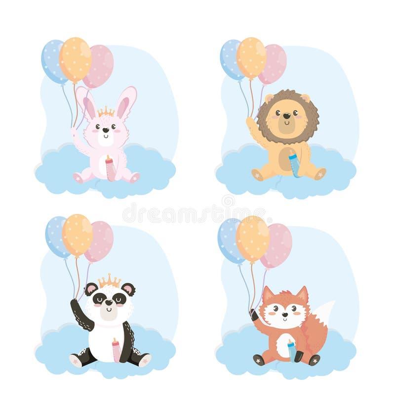 Ajuste dos animais bonitos com garrafa e balões de alimentação ilustração do vetor