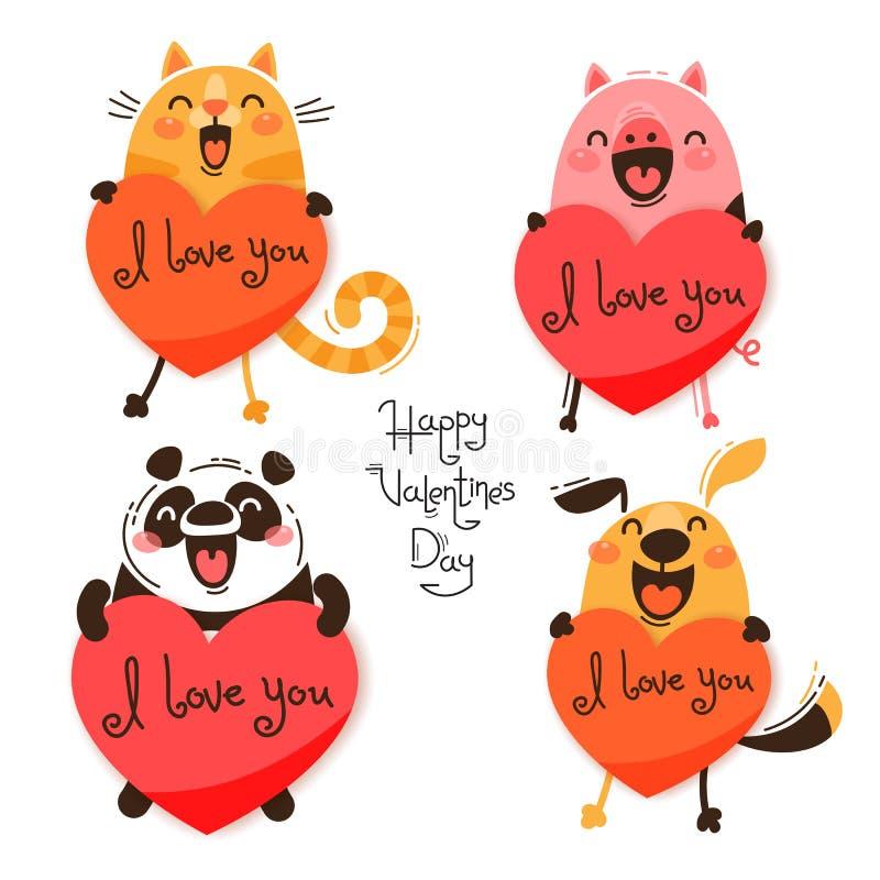 Ajuste dos animais bonitos com Valentim O gato, o porco, a panda e o cão engraçados confessam eu te amo Ilustração isolada do vet ilustração stock