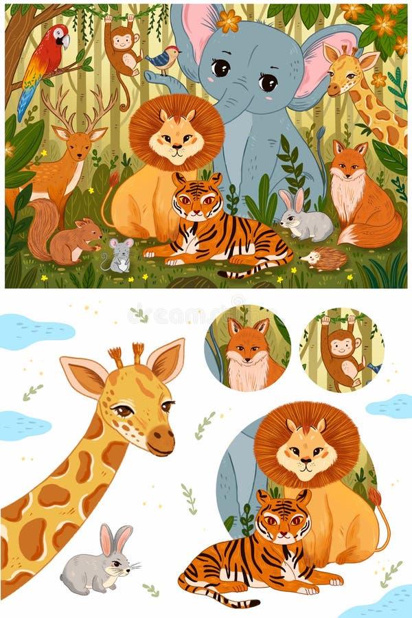 Ajuste dos animais bonitos da floresta em cores retros do vintage ilustração royalty free