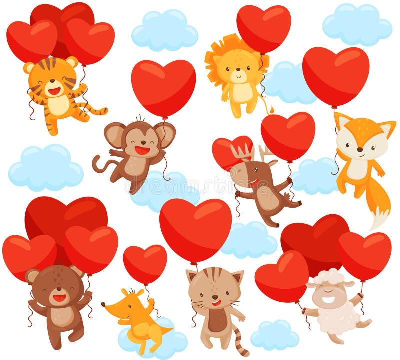 Ajuste dos animais bonitos que voam no céu com balões coração-dados forma Tema do amor Elementos lisos do vetor para o cartão ilustração stock
