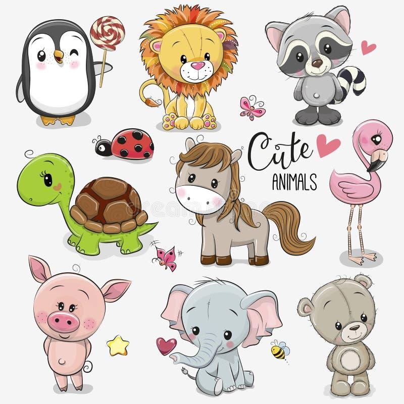 Ajuste dos animais dos desenhos animados no fundo branco ilustração royalty free