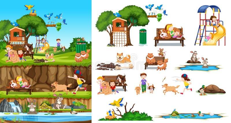 Ajuste dos animais e das crianças isolados com cena do fundo ilustração stock