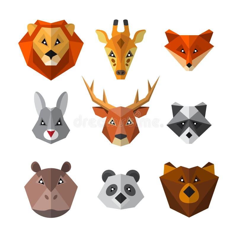 Ajuste dos animais selvagens no baixo estilo poli Coleção animal do ícone ilustração royalty free