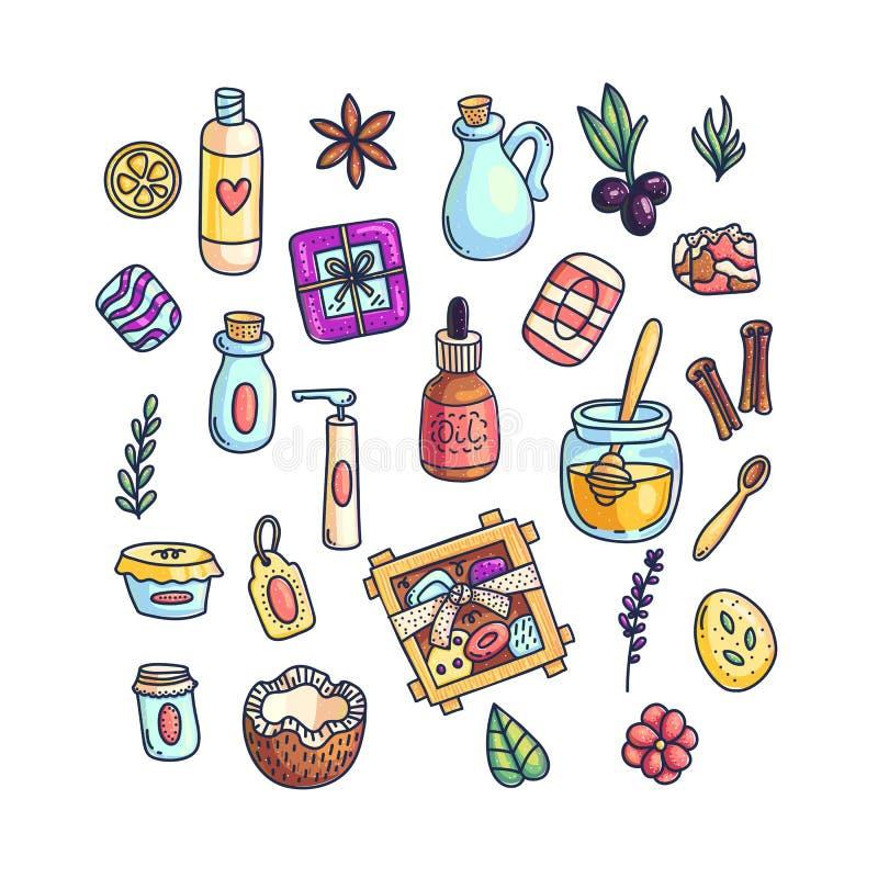 Ajuste dos artigos aromáticos coloridos ilustração royalty free