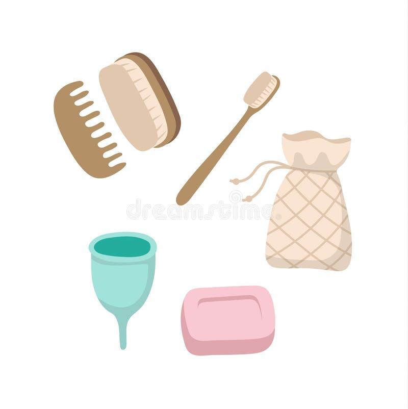Ajuste dos artigos ecológicos da higiene pessoal - escova de dentes de madeira, copo menstrual, sabão contínuo, escovas, saco do  ilustração royalty free