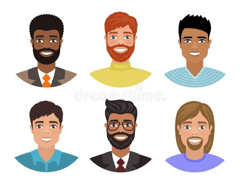 Ajuste dos avatars com os homens de nações diferentes ilustração royalty free