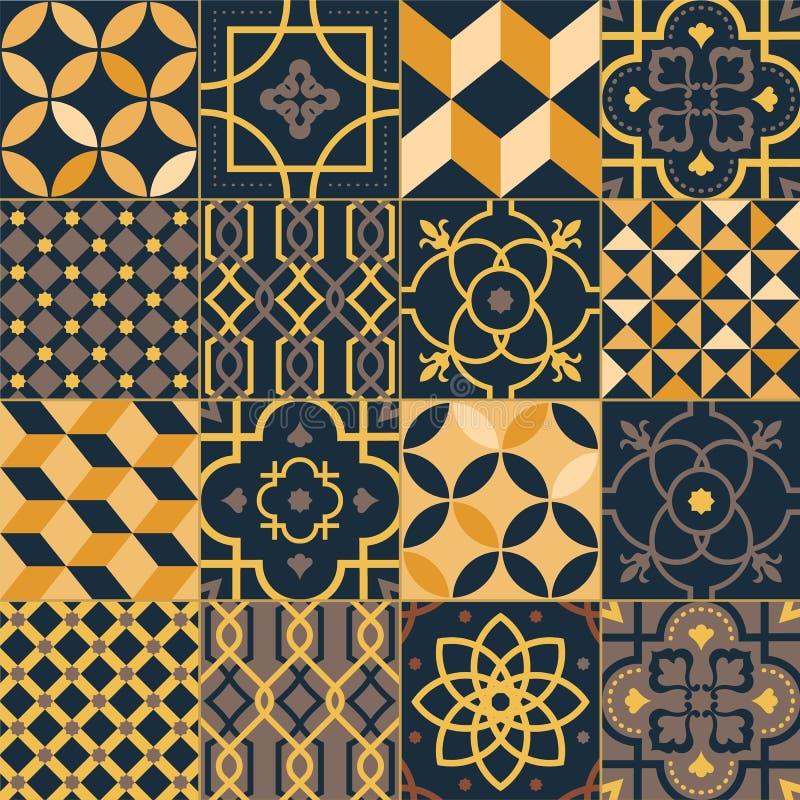 Ajuste dos azulejos quadrados com testes padrões orientais tradicionais elegantes Pacote de ornamento decorativos, decorativo ilustração royalty free