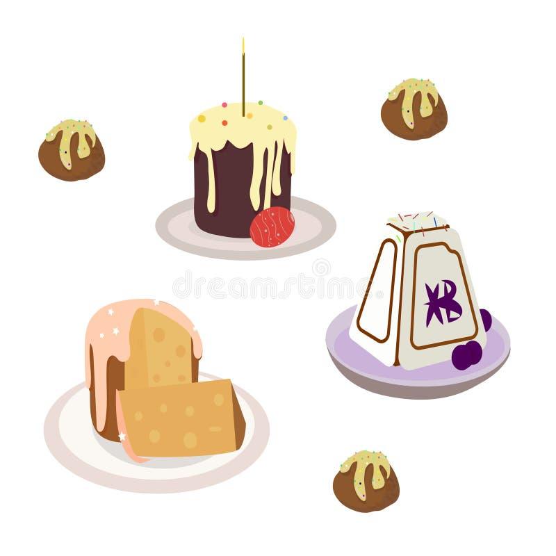 ajuste dos bolos e das velas para a Páscoa ilustração stock