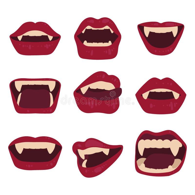 Ajuste dos bordos 'sexy' do vampiro isolados em um fundo branco Boca com colmilhos Ilustra??o do vetor de Halloween ilustração royalty free