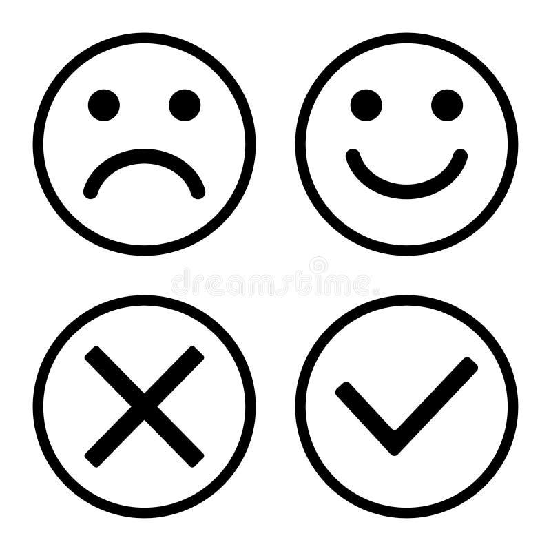 Ajuste dos botões dos ícones Emoticons dos smiley positivos e negativos Confirmação e rejeção Sim e no Ilustra??o do vetor ilustração royalty free