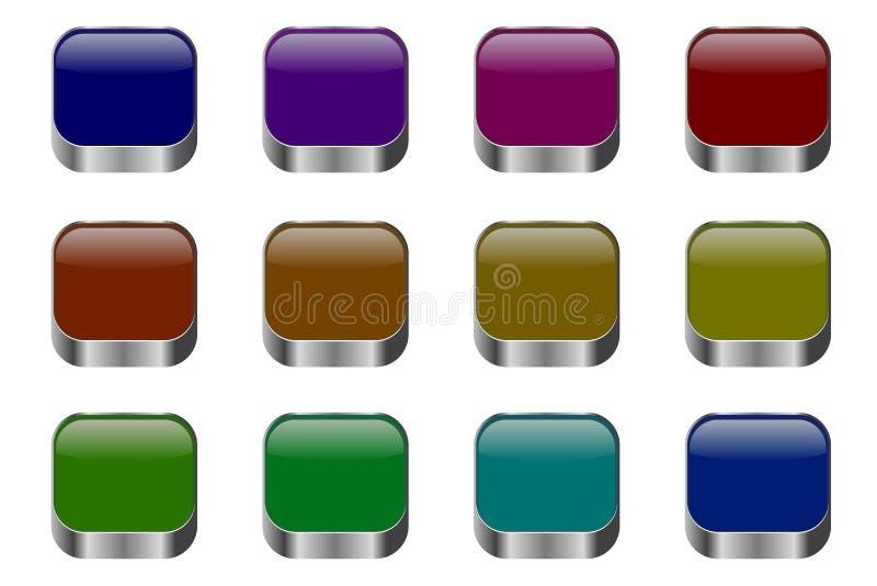 Ajuste dos botões coloridos para Web site e blogues, projeto moderno ilustração royalty free