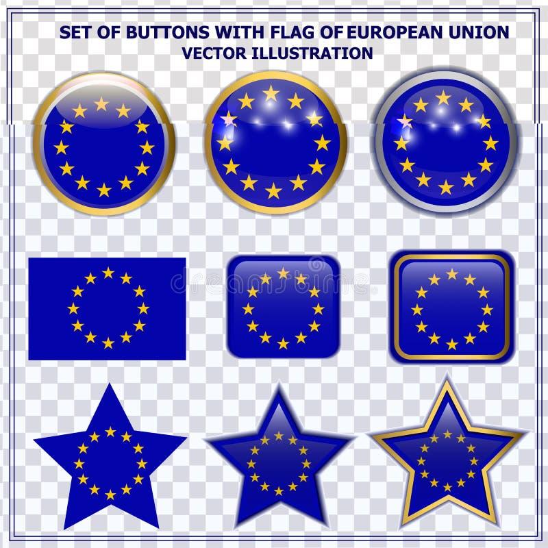 Ajuste dos botões com a bandeira da União Europeia Ilustração do vetor ilustração stock