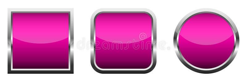 Ajuste dos botões lustrosos cor-de-rosa Ilustração do vetor ilustração do vetor