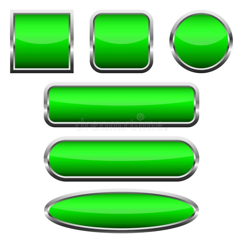 Ajuste dos botões lustrosos verdes Ilustração do vetor ilustração royalty free