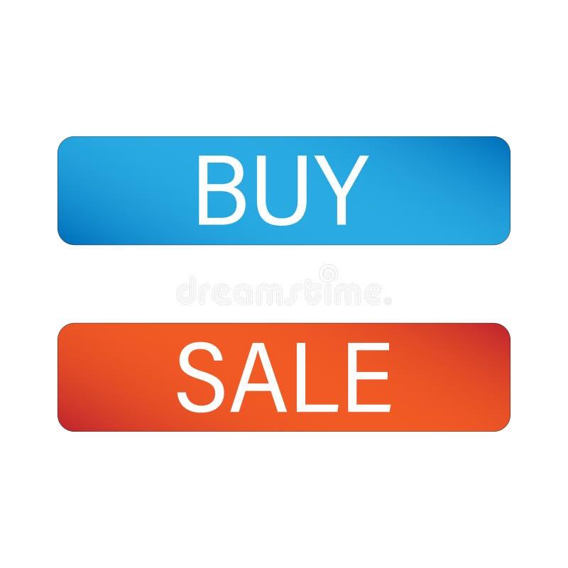 Ajuste dos botões para a venda e a compra ilustração royalty free
