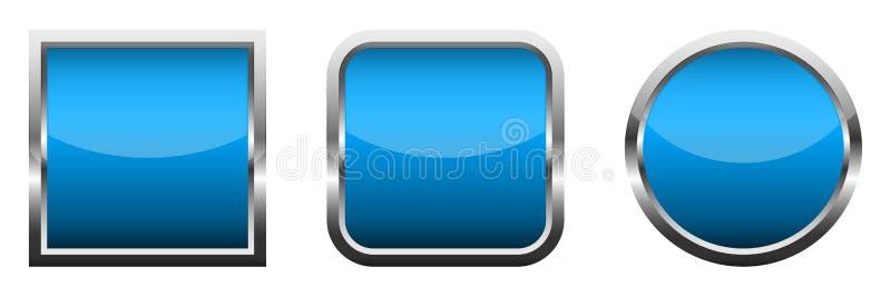 Ajuste dos bot?es lustrosos azuis Ilustra??o do vetor ilustração stock