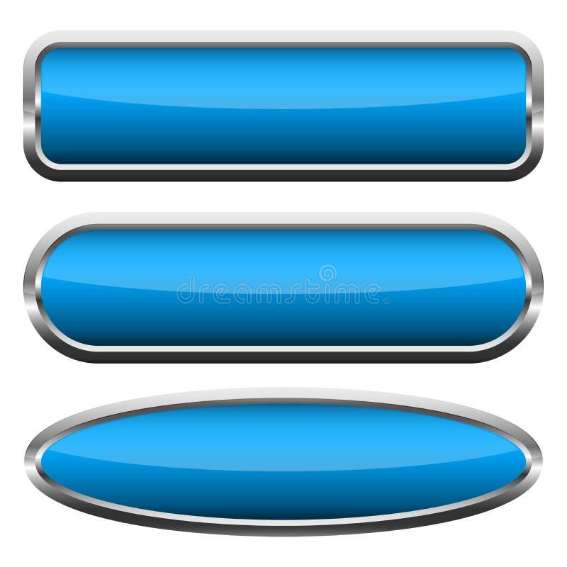 Ajuste dos bot?es lustrosos azuis Ilustra??o do vetor ilustração royalty free