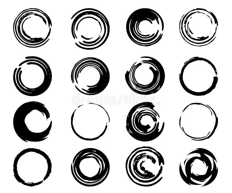 Ajuste dos círculos tirados do garrancho da mão preta isolados no fundo branco O estilo da garatuja esboçou quadros Elementos do  ilustração stock