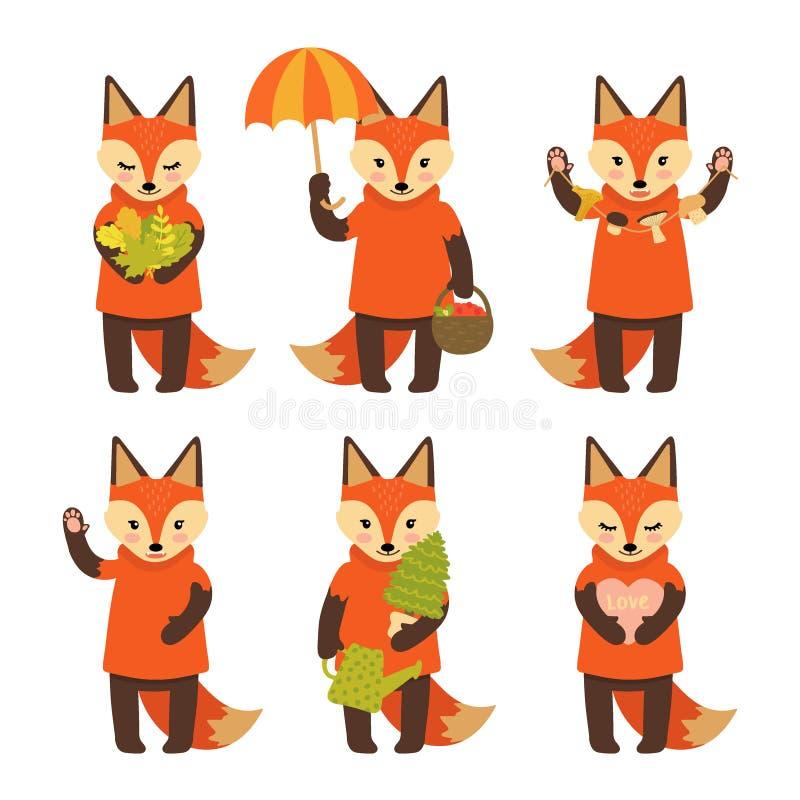 Ajuste dos caráteres bonitos da raposa isolados no fundo branco Coleção de caráteres do outono Ilustra??o do vetor no estilo dos  ilustração do vetor