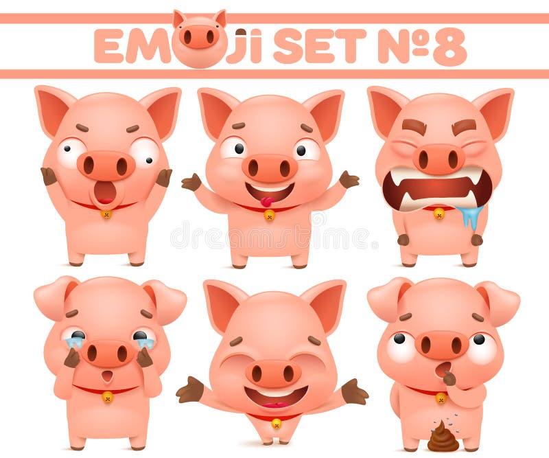 Ajuste dos caráteres bonitos do emoticon dos desenhos animados do porco em várias emoções ilustração stock
