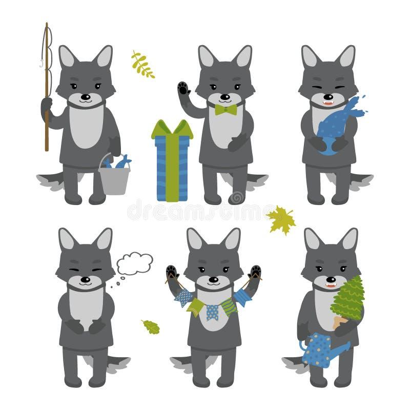 Ajuste dos caráteres bonitos do lobo isolados no fundo branco Coleção de caráteres do outono Ilustra??o do vetor no estilo dos de ilustração stock