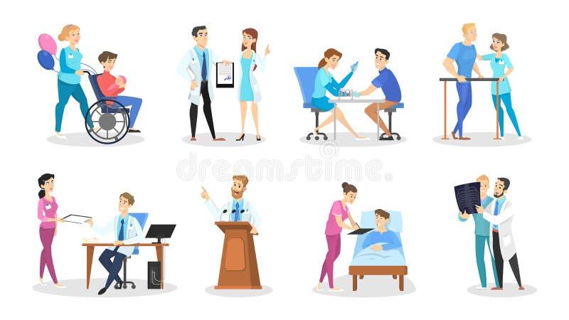 Ajuste dos caráteres do doutor e da enfermeira com várias poses ilustração stock