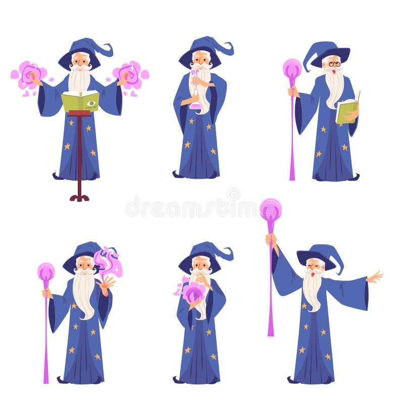 Ajuste dos caráteres do homem mágico idoso do feiticeiro com um chapéu e de uma barba, conceito do vetor da mágica ilustração stock