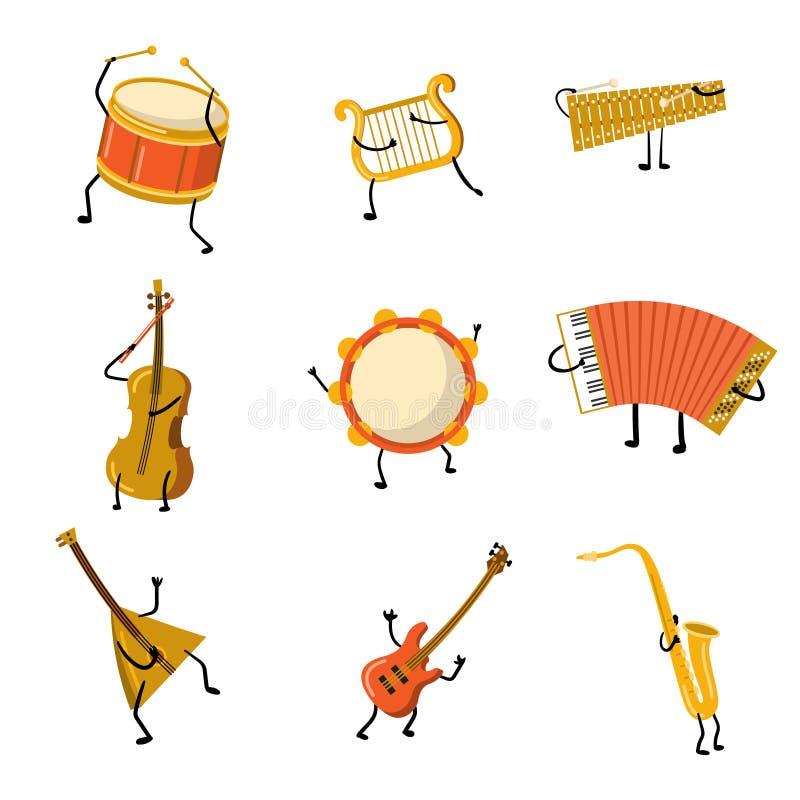 Ajuste dos caráteres engraçados do instrumento musical com mãos e pés ilustração stock