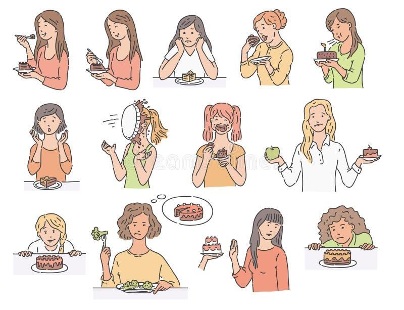 Ajuste dos caráteres fêmeas com estilo do esboço do bolo da sobremesa ilustração stock