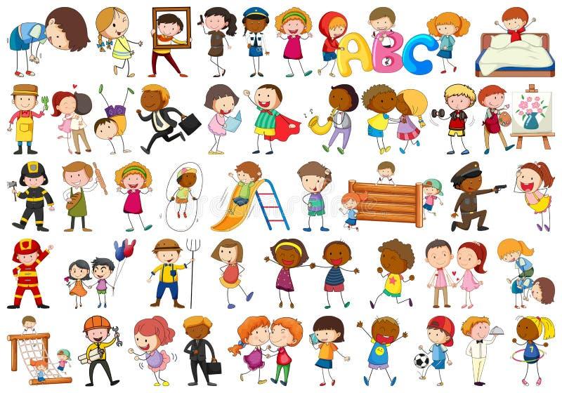 Ajuste dos caráteres simples diferentes ilustração royalty free