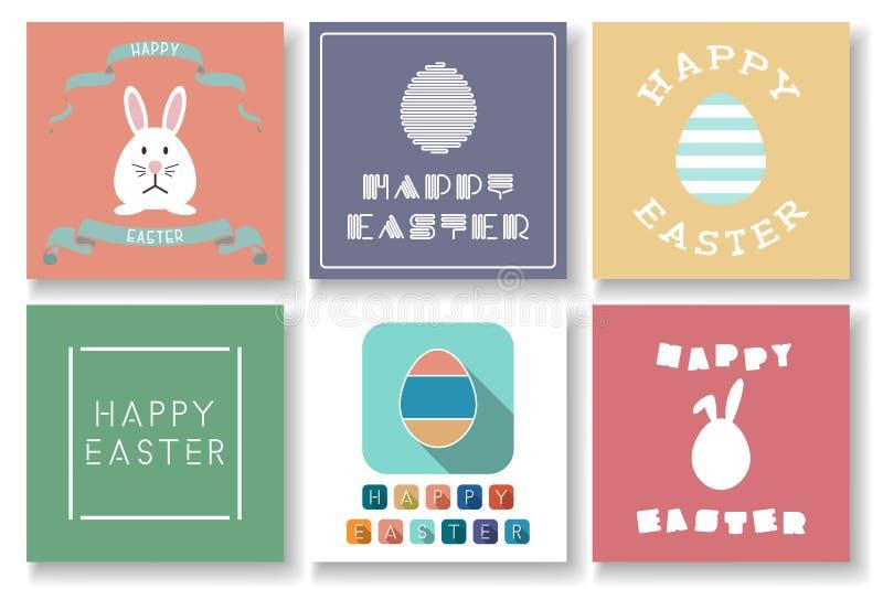 Ajuste dos cartões coloridos da Páscoa feliz do vetor com elementos decorativos Fundos criativos do feriado ilustração stock